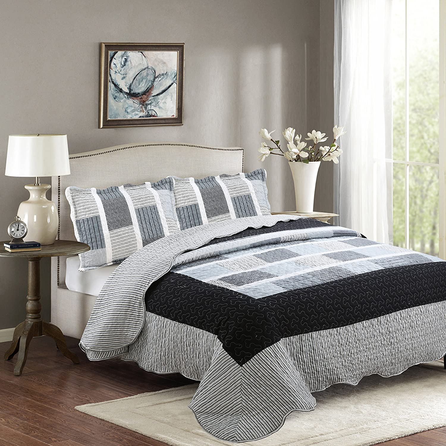 MK Home Mk Collection 2pc Twin/Twin Extra Long Reversible Bedspread Coverlet Set Stripped Square Pattern Grey Black White New