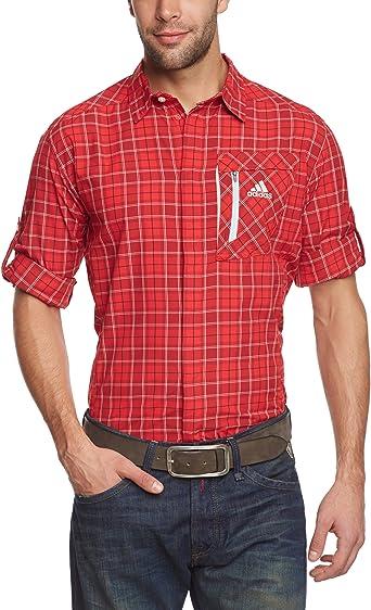 adidas Langarmhemd Hiking Trekking Check - Camisa, Color Rojo, Talla L: Amazon.es: Ropa y accesorios