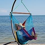 Caribbean Hammock Chair with Footrest - 40 inch - Soft-spun Polyester - (Rainbow)