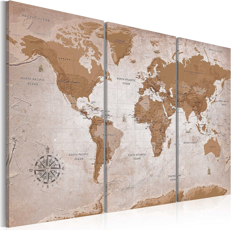 murando - Cuadro en Lienzo 120x80 - Mapamundi - Impresión de 3 Piezas Material Tejido no Tejido Impresión Artística Imagen Gráfica Decoracion de Pared - Mapa del Mundi Art k-A-0106-b-e
