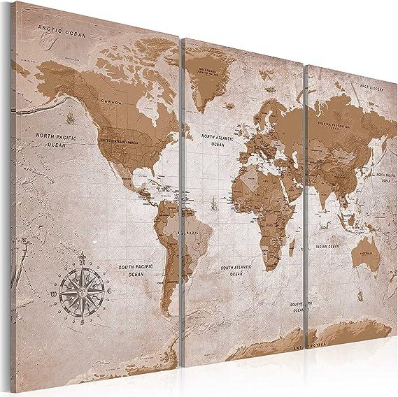 murando - Cuadro en Lienzo 60x40 cm - Mapamundi Impresión de 3 Piezas Material Tejido no Tejido Impresión Artística Imagen Gráfica Decoracion de Pared Mapa del Mundi Art k-A-0106-b-e: Amazon.es: Hogar