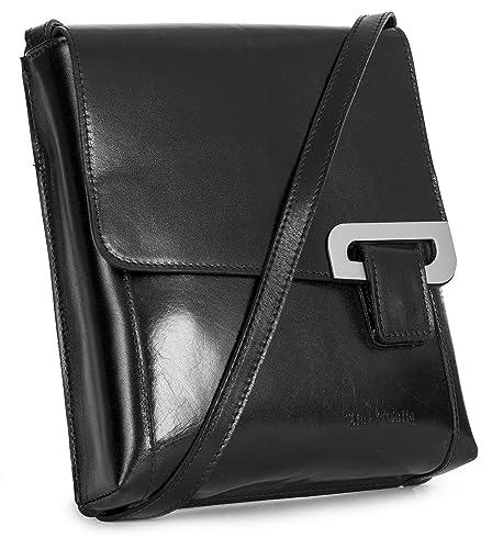 c428176eb697 LiaTalia Cross Body Messenger Structured Leather Handmade Shoulder Womens  Handbag - FERN (Black)