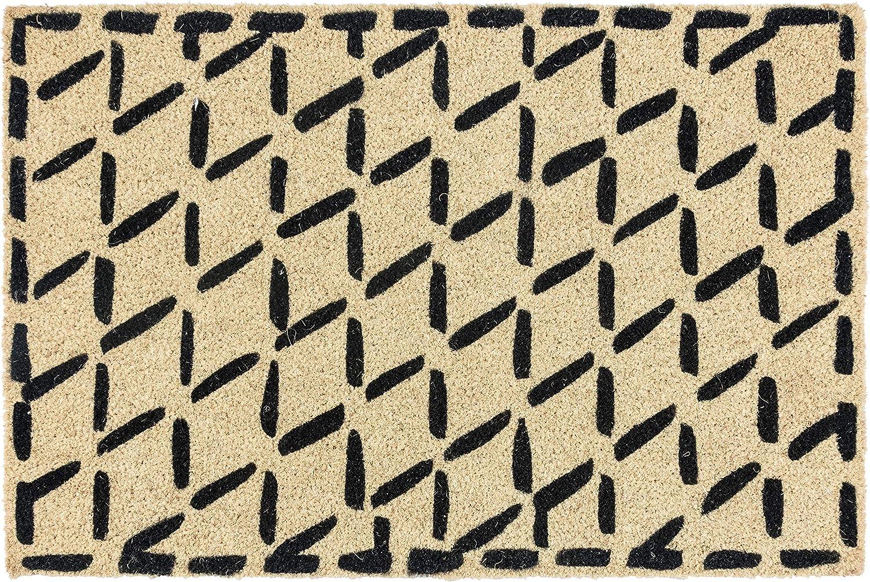 Kosas Home Dash Doormats, 24x36, Black with Ivory Coir Base