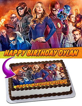 Legends Of Tomorrow Supergirl Flash Edible Cake Image Topper Personalized Birthday 1 4 Sheet Custom