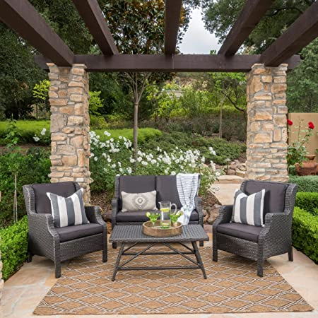 Great Deal Furniture Lani Outdoor 4 Piece Grey Wicker Chat Set with Black Water Resistant Cushions