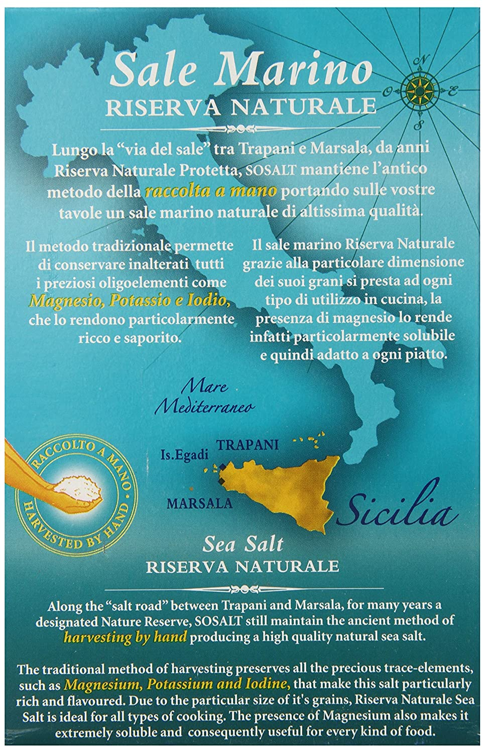 Amazon.com : Sosalt Seasalt Crystals, Riserva Naturale, 2.2 Pound (Pack of 12) : Grocery & Gourmet Food