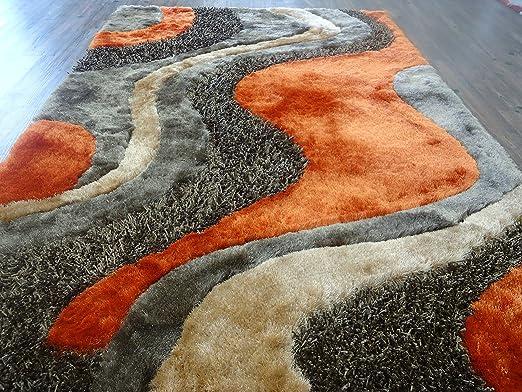Amazon.com: Alfombra Color Café Combinado con Naranja hecha a mano estilo moderno suave y lujosa , gruesa pila de tamaño 60