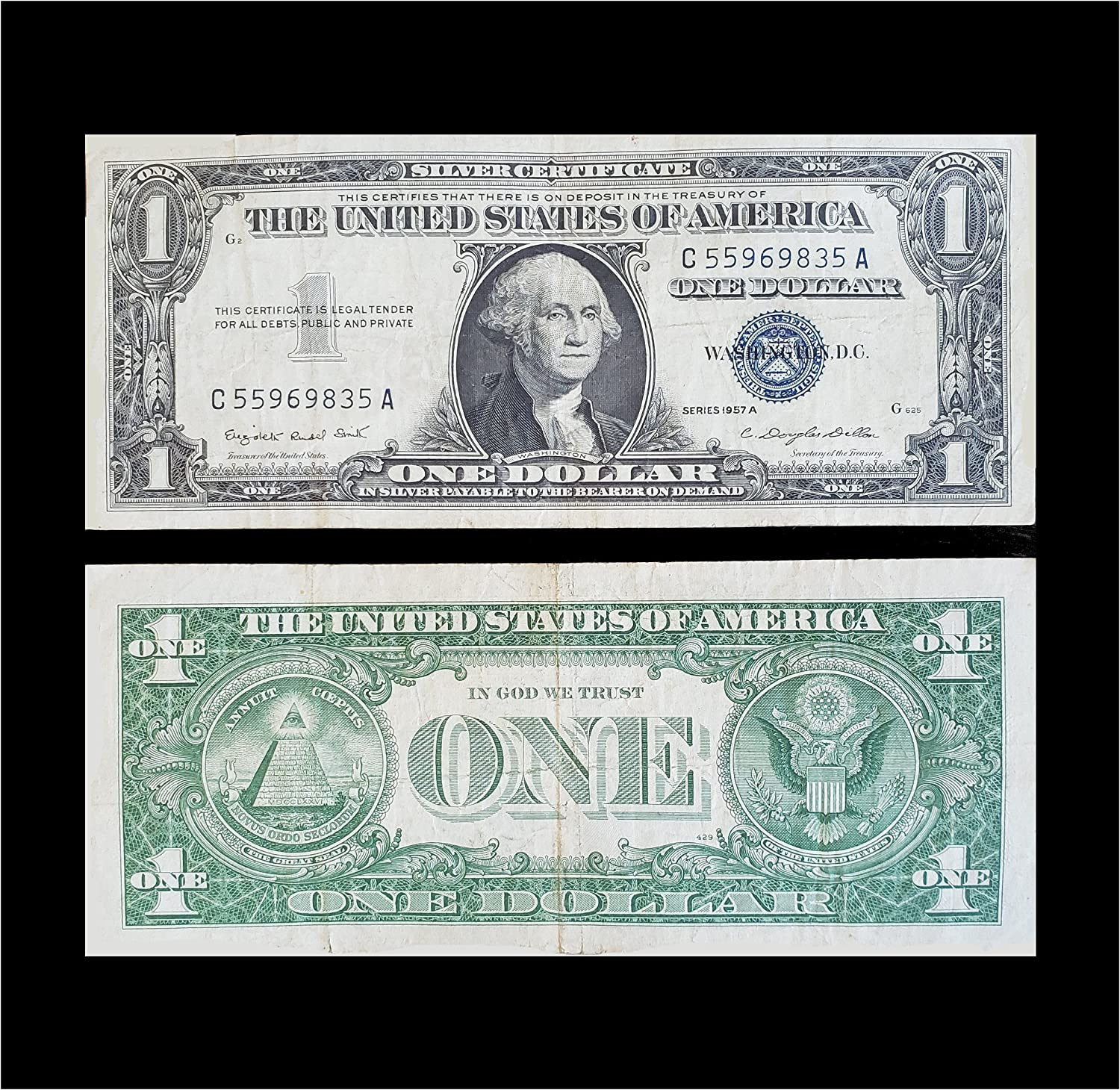 1935 And 1957 Silver Certificates Blue Seal Set Of 2 Very Good At