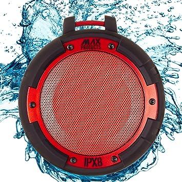 Wireless Bluetooth 4.0 Lautsprecher MAX PRODUCTS/® IPX8 Wasserdicht Sto/ßfest Integrierte Freisprecheinrichtung Kraftvoller Sound Zuschaltbare LED