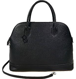 Softe Echt Leder Handtasche, schwarz, mit abnehmbarem Trageriemen, ca. 33x28x20cm, by Collezione Alessandro