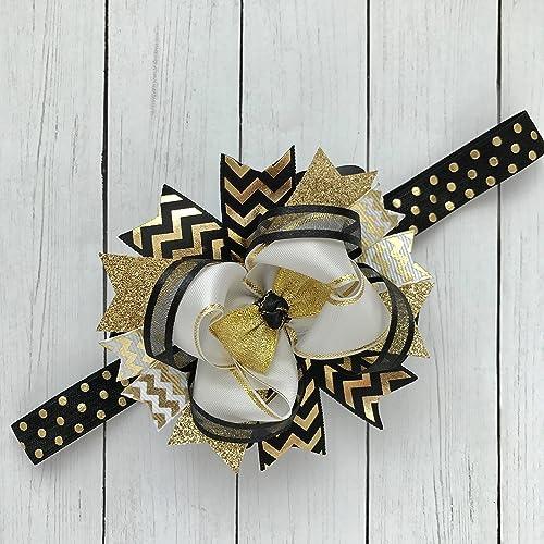 Amazon.com  Gold Black White Elastic Baby Headband e7e7faf22ca