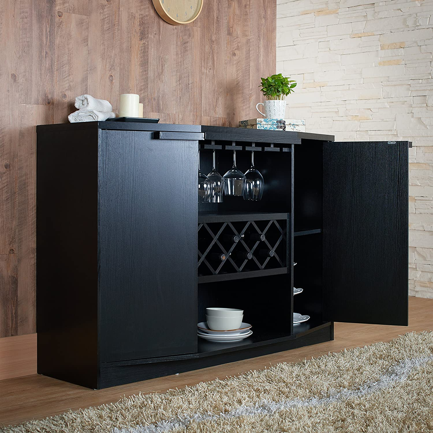 Amazon ioHOMES Annadel Wine Cabinet Buffet Black Kitchen