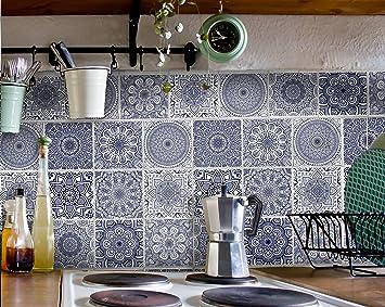 Dekorfliesen Küche   Fliesenaufkleber Set Mandala Monate Dunkel Blau Dekorfliesen Fur