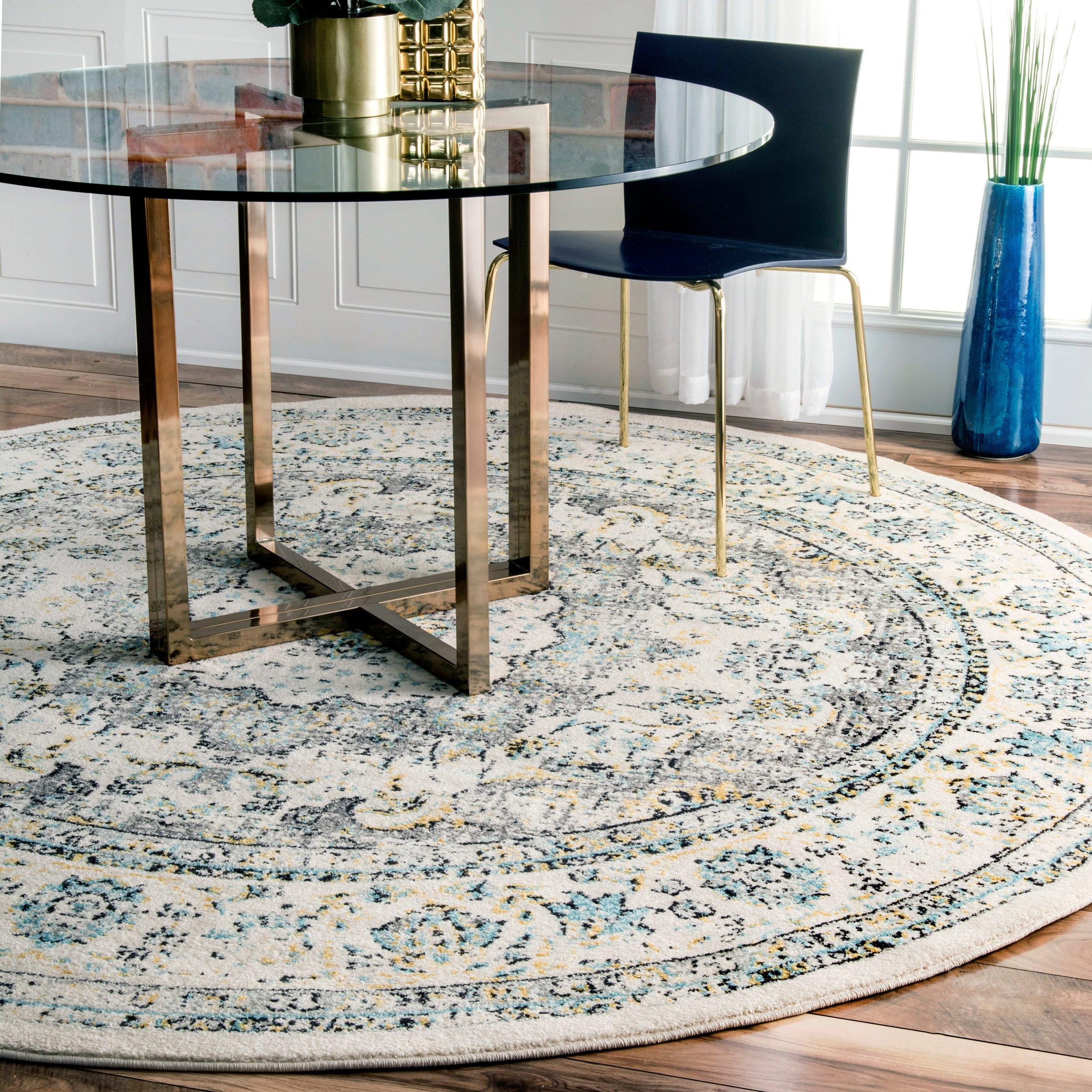 Nuloom vintage persian verona round rug 5 round grey