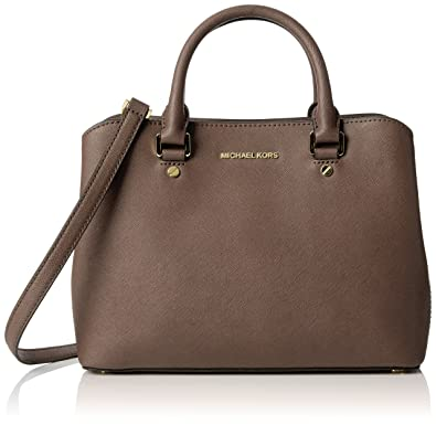 7192d85afeea Michael Kors Women s Savannah Medium Saffiano Leather Satchel Satchel Brown  (Cinder)  Handbags  Amazon.com