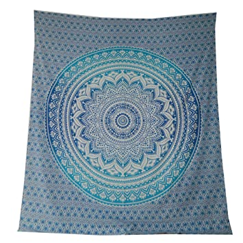 Couverture indienne Tenture MANDALA Floral Bleu Turquoise 230x210cm ...