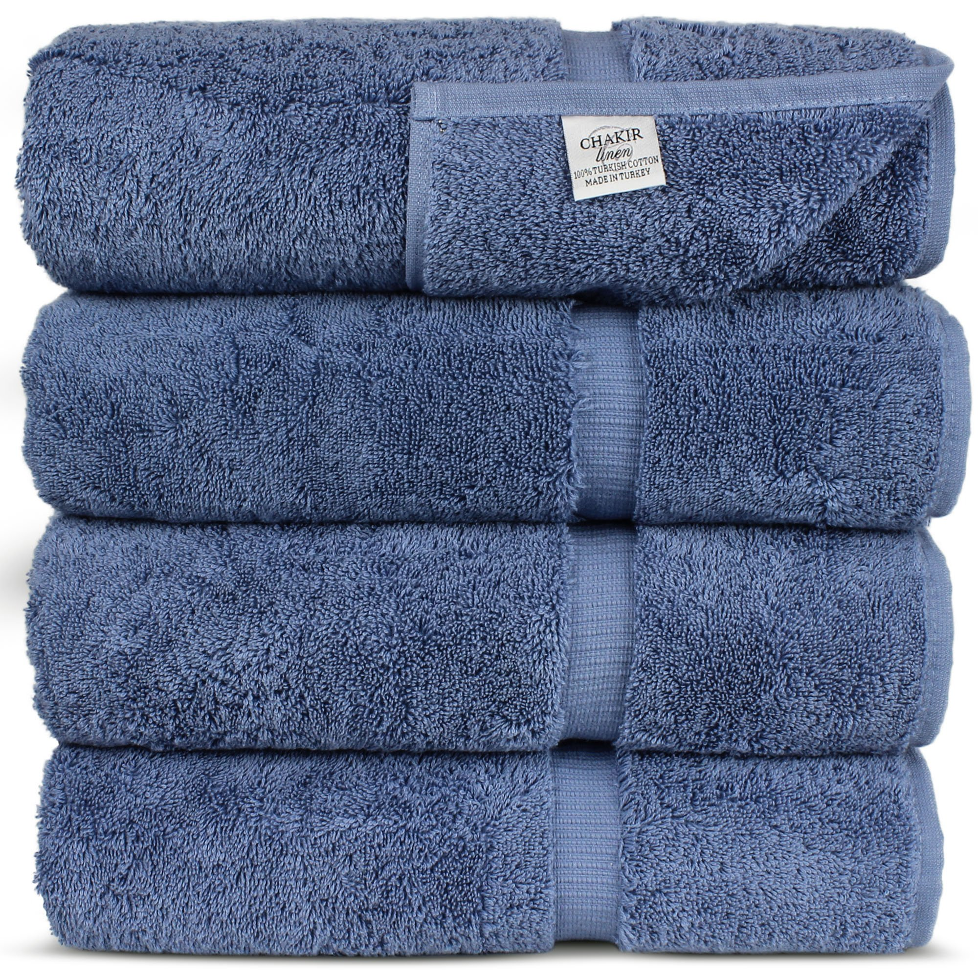 Luxury Hotel & Spa Towel Turkish Cotton (Bath Towel - Set of 4, Wedgewood) by Chakir Turkish Linens