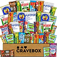 CraveBox - Healthy Snacks Care Package (40 Count) - Variety Assortment with Fruit Chews, Granola Bars, Popcorn and More, Gift Snack Box, Offices, College Students, Spring Final Exams, Easter Sunday