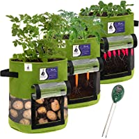 Potato Grow Bag 3-Pack with Soil pH Tester - 10-Gallon Plant Grow Bags for Vegetables - Non Woven Strong Fabric Planters…