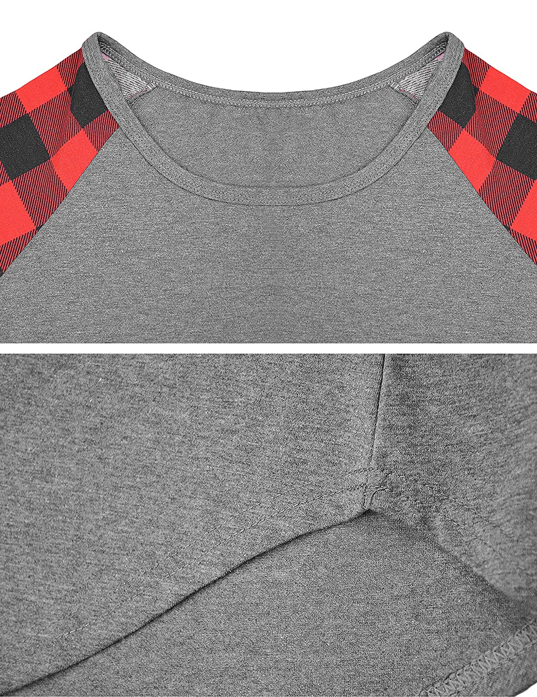 Odosalii Womens Crewneck Short Sleeve Color Block Loose T-Shirt Casual Baggy Sweatshirt Tee Blouse Tunic Top