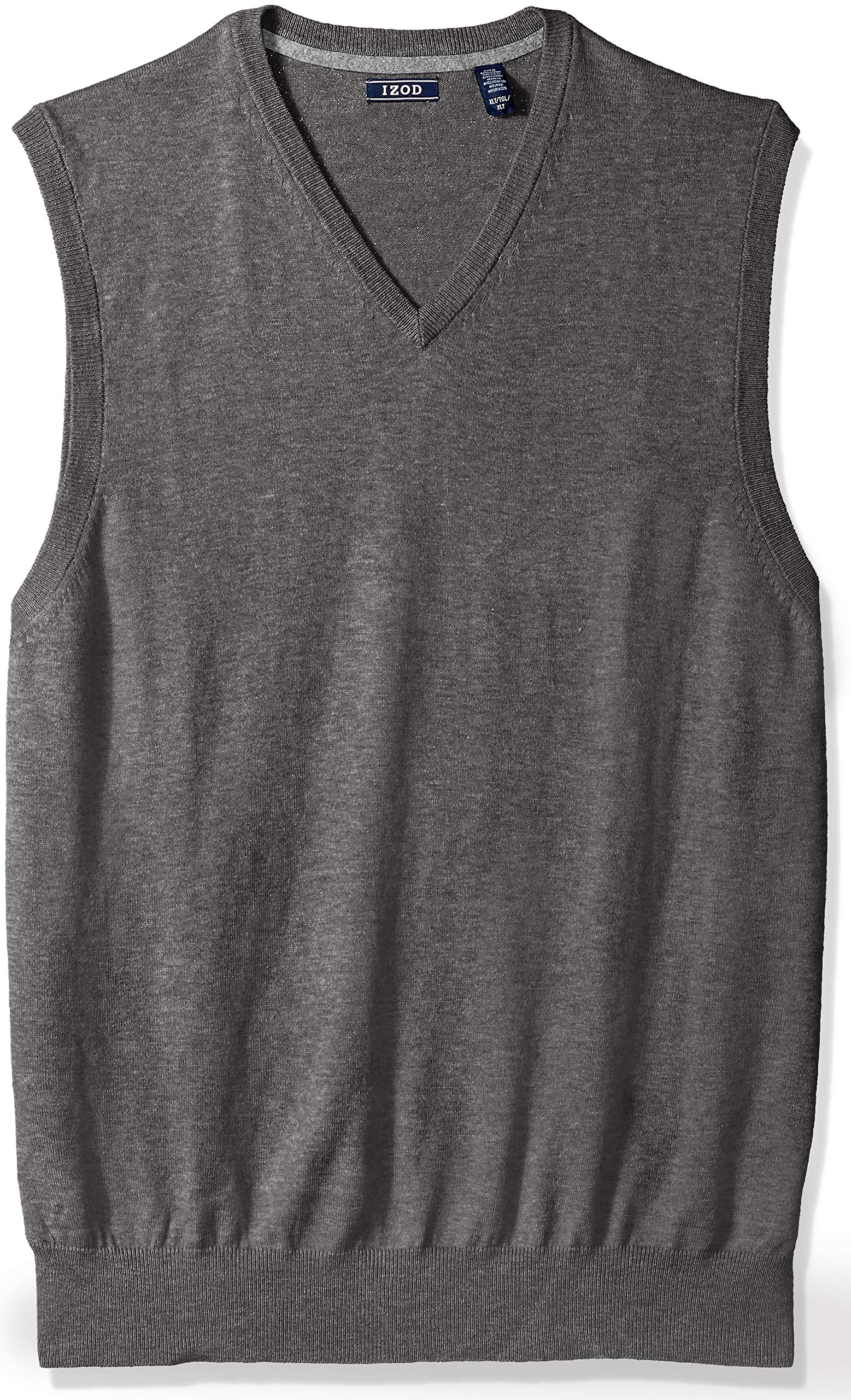 IZOD Men's Big and Tall Fine Gauge Solid Sweater Vest, New Carbon Heather, 4X-Large