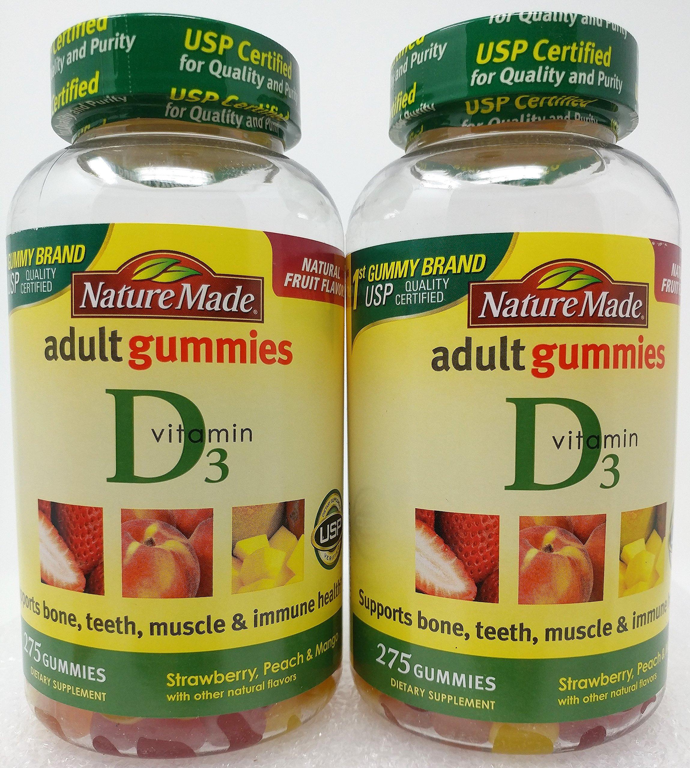 Nature Made Vitamin D3 Adult Gummies 275 Gummies (pack of 2)