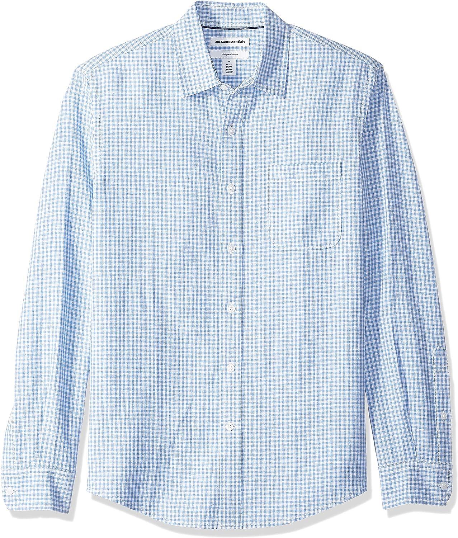corte entallado y estampado para hombre Camisa de lino con manga larga Essentials
