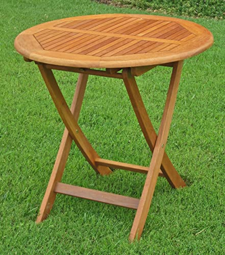 International Caravan TT-VN-0092-TBL-IC Furniture Piece Royal Tahiti Outdoor Wooden 28 Round Folding Table, Brown