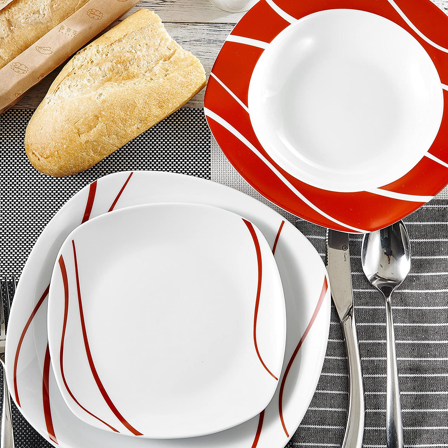 12-Piece Ivory White Porcelain Cream White Dinnerware Combi-Set with Soup Plates and Dinner Plates Service for 6 Series Amparo Malacasa