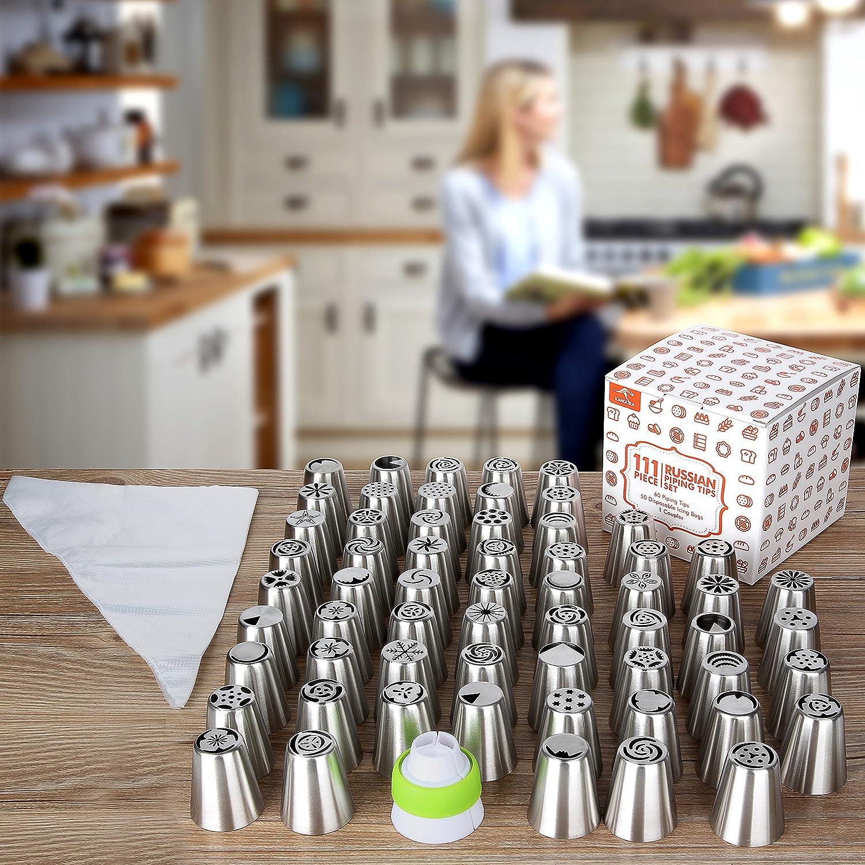 Kangora beccucci russi per decorare le torte 111 Pezzo Set Beccucci per glassa riutilizzabili attacchi accessori di pasticceria