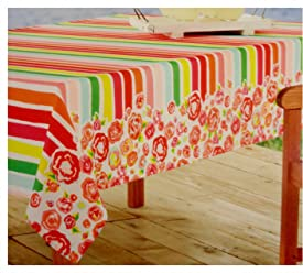 Celebrate Summer Together Striped Floral Indoor/Outdoor Water Repellent Tablecloth (Round 70