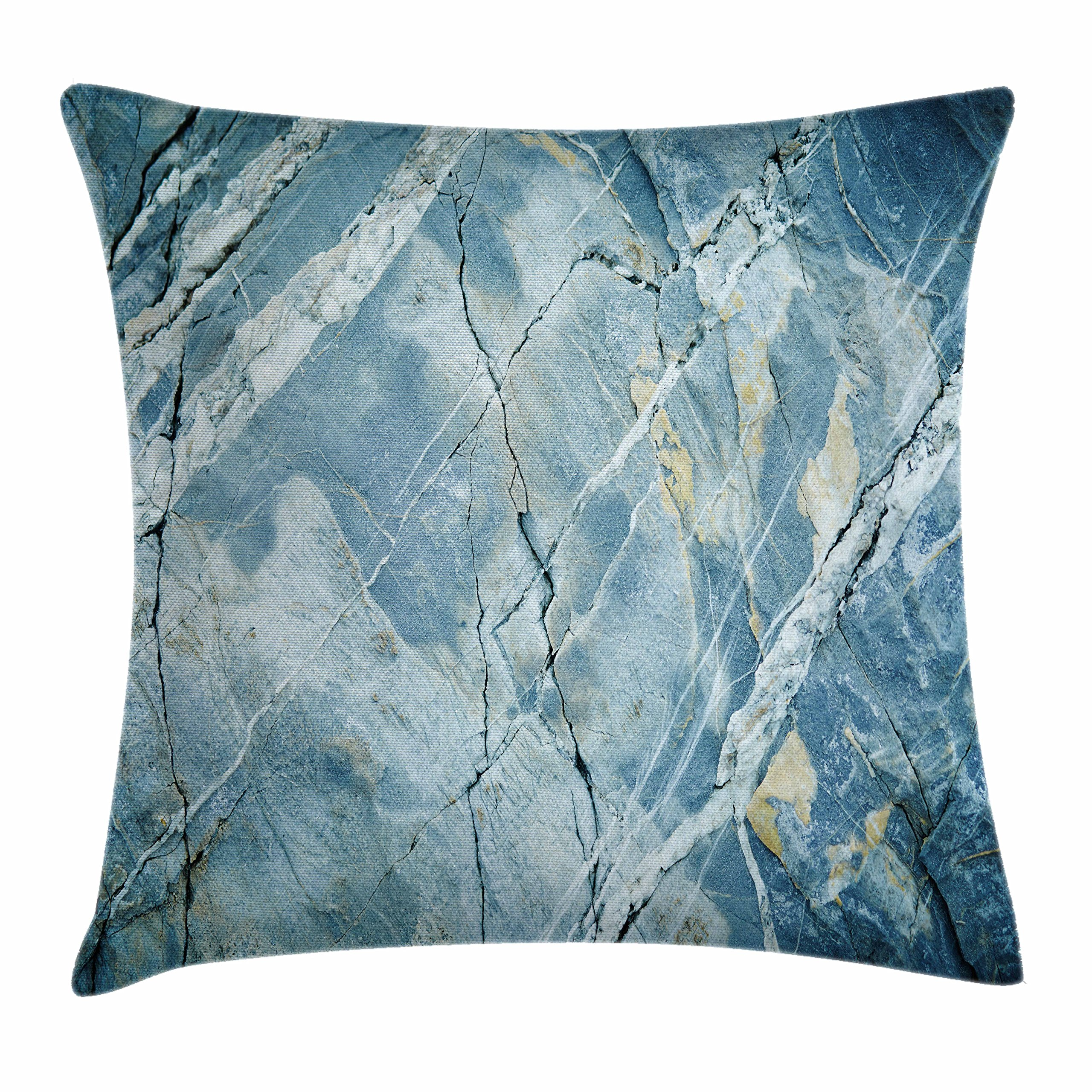 Ambesonne Marble Throw Pillow Cushion Cover, Exquisite Granite Stone Architecture Floor Artistic Nature Faded Rock Picture, Decorative Square Accent Pillow Case, 18 X 18 Inches, Light Blue Grey