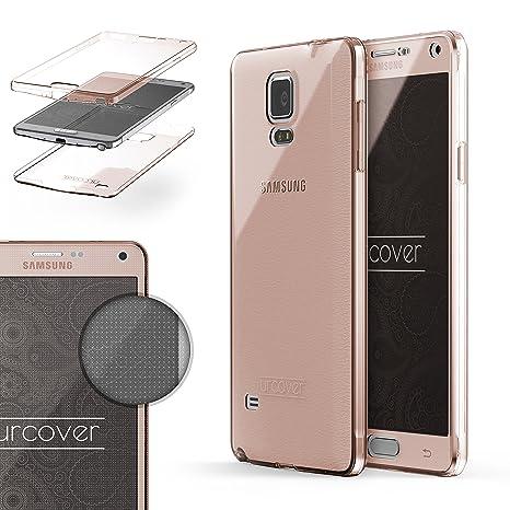 Urcover® Funda Compatible con Samsung Galaxy Note 4, Carcasa Protectora 360 Grados Silicona Gel en Transparente Full Body Protección Completa ...