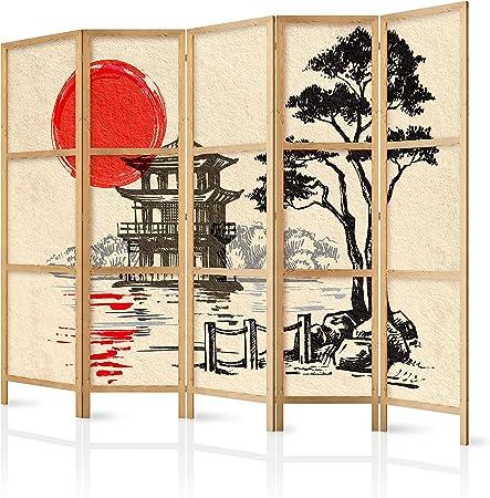 murando - Biombo XXL Japan Oriente Zen 225x171 cm 5 Paneles Lienzo de Tejido no Tejido Tela sintética Separador Madera Design de Moda Hecho a Mano Deco Home Office Japón p-B-0026-z-c: Amazon.es: