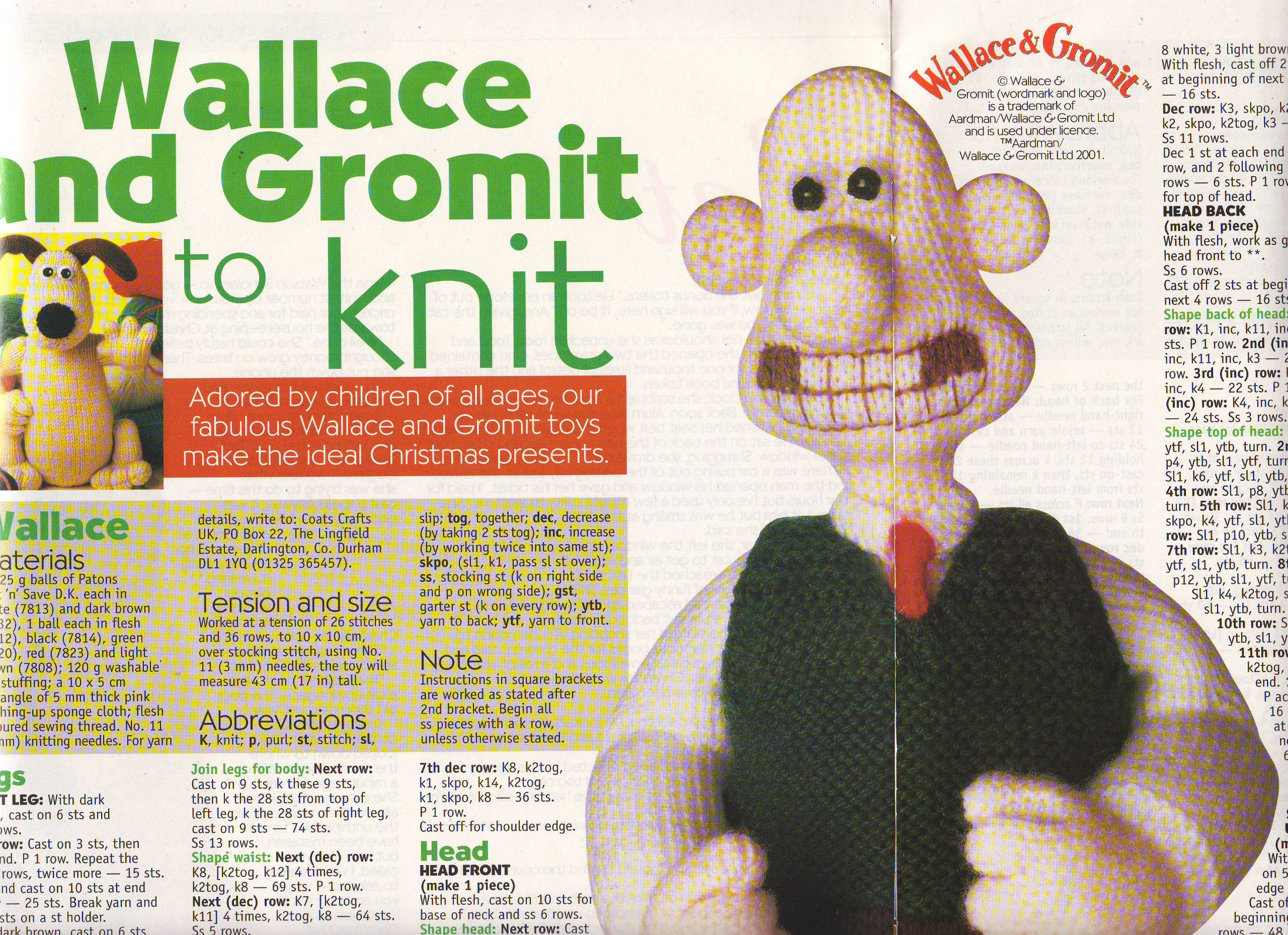 Wallace & Gromit Toy Knitting Pattern: Measurements Wallace 43cm ...