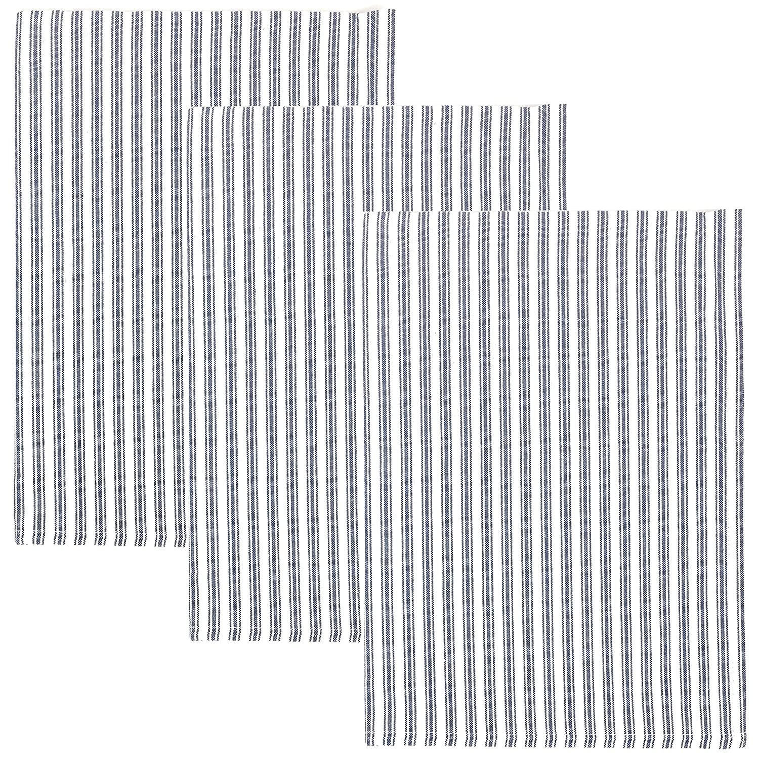 Dunroven House Ticking Stripe 100% Cotton Kitchen Towels, Set of 3 (Navy Blue)