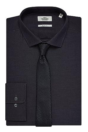 next Hombre Conjunto de Camisa y Corbata Textura Corte Ajustado ...