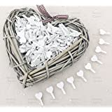 30mm White Mini Clothes Pegs with Matching 18mm White Hearts Craft For Shabby Chic Wedding Pack of 25