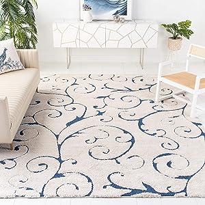"Safavieh Florida Shag Collection SG455-1165 Scrolling Vine Graceful Swirl Textured 1.18-inch Thick Area Rug, 9' 6"" x 13', Cream/Blue"