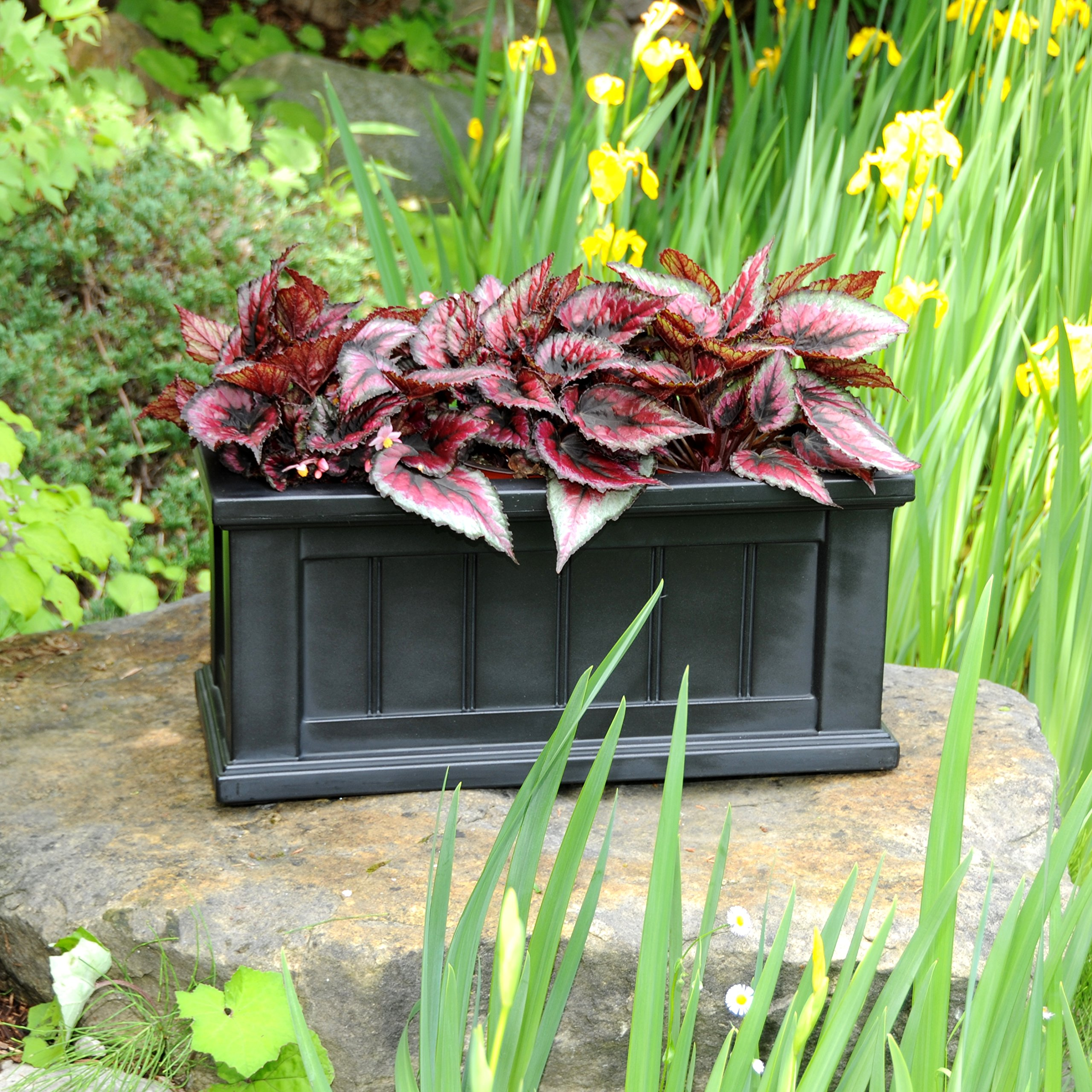 Mayne 4839-B Cape Cod Patio 24x11 Polyethylene Planter, 24'' x 11'', Black