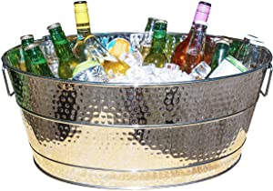 BREKX Aspen Stainless Steel 25-Quart Hammered Beverage Tub and Wine Chiller for Parties, Weddings, Holidays, Etc - Heavy duty Armored Build