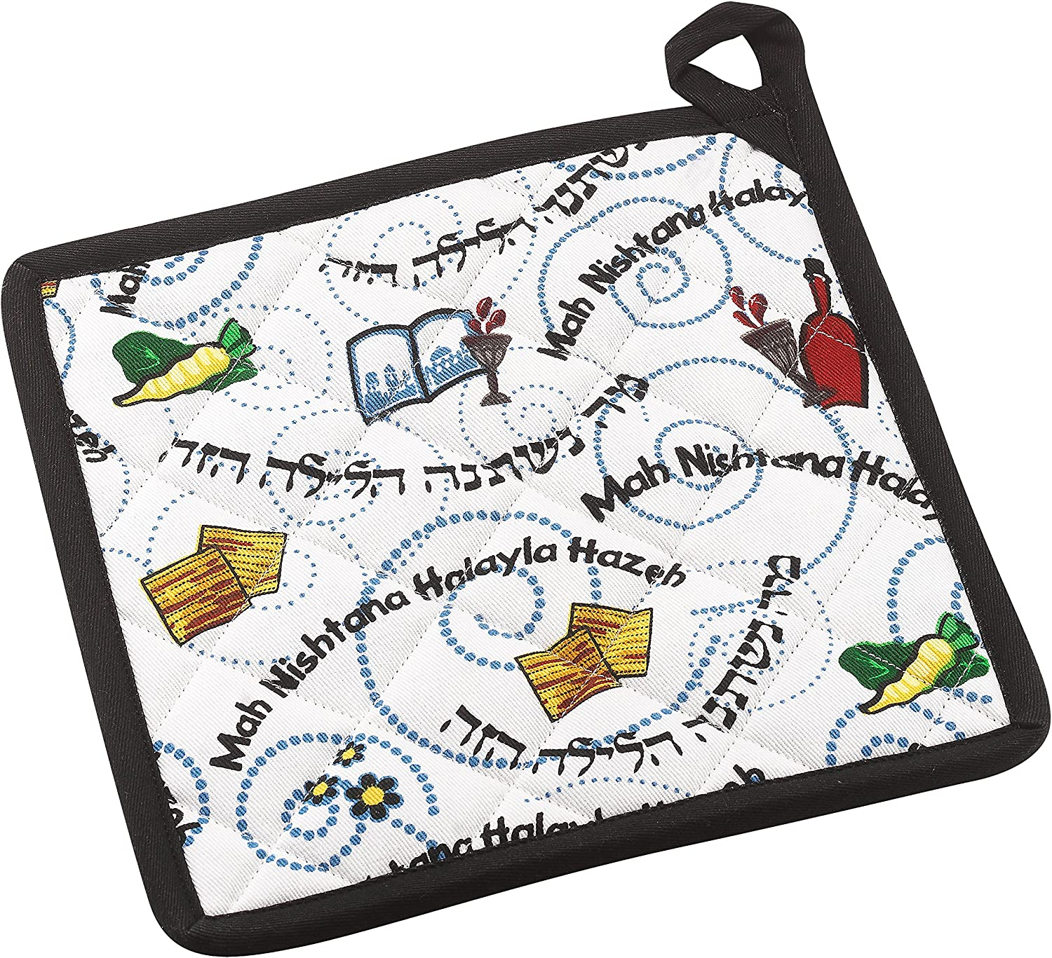 The Kosher Cook Passover Pot Holder Oven Mitt - Mah Nishtana Four Questions Print Design - 100% Cotton - Pesach Seder and Kitchen Accessories