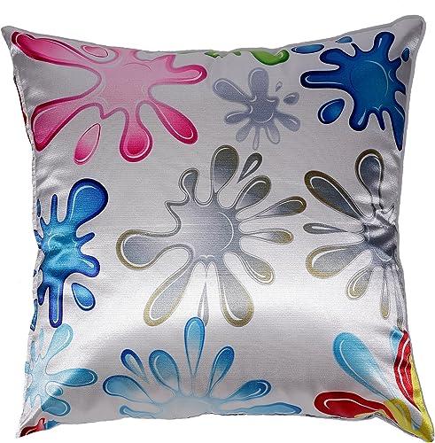 Cortesi Home Fun Splat Decorative Soft Velvet Square Accent Throw Pillow with Insert, 16 x 16 , Multi