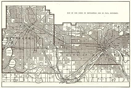 Amazon.com: 1910 Antique Minneapolis & St Paul Map Original Vintage ...