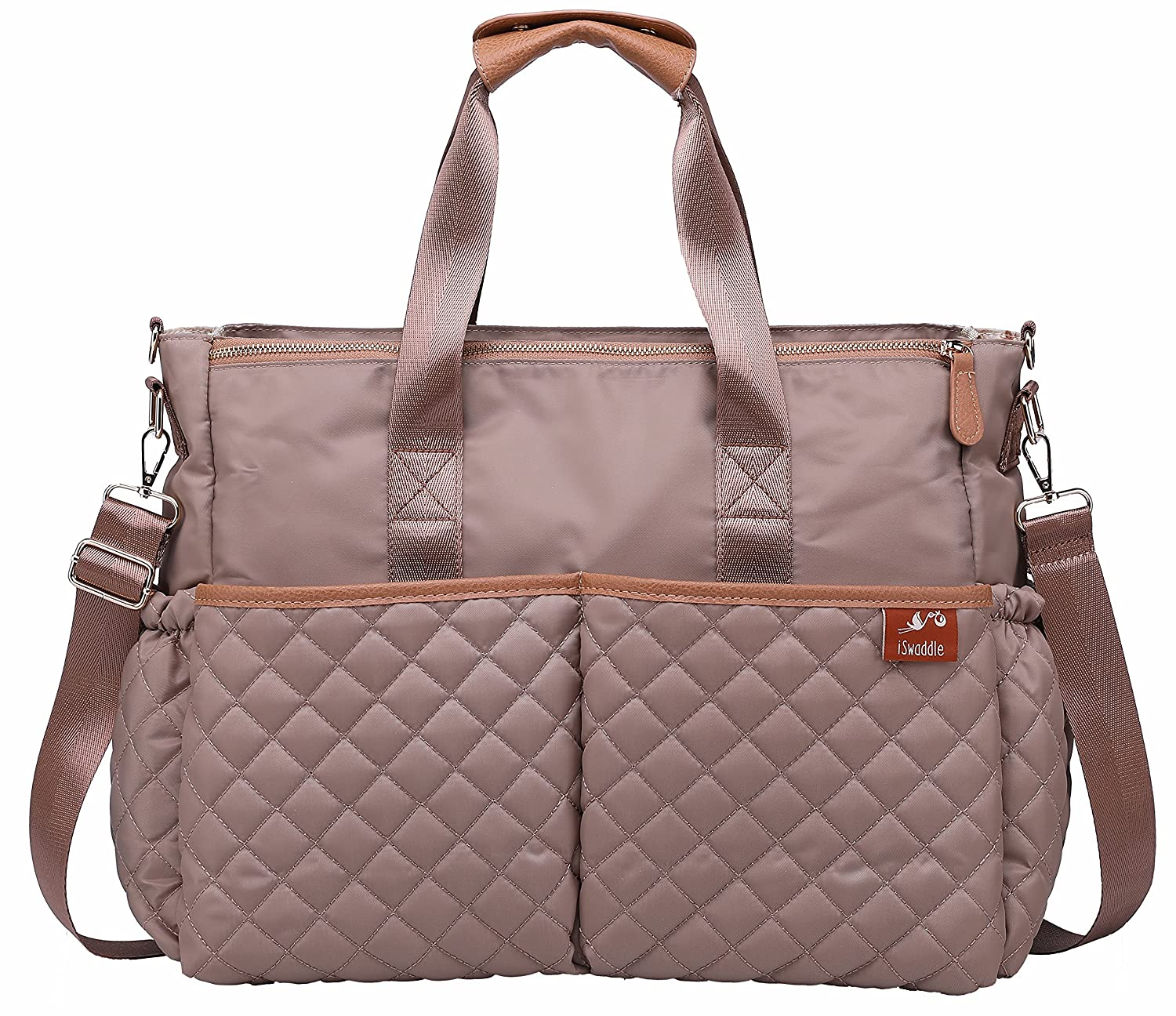 Trendy Water Resistant Quilted Design Baby Changing, Nappy, Diaper Bag With Integrated Stroller Clips and Removable/Adjustable Shoulder Strap. BONUS - Includes Matching Changing Mat (Cream) iSwaddle