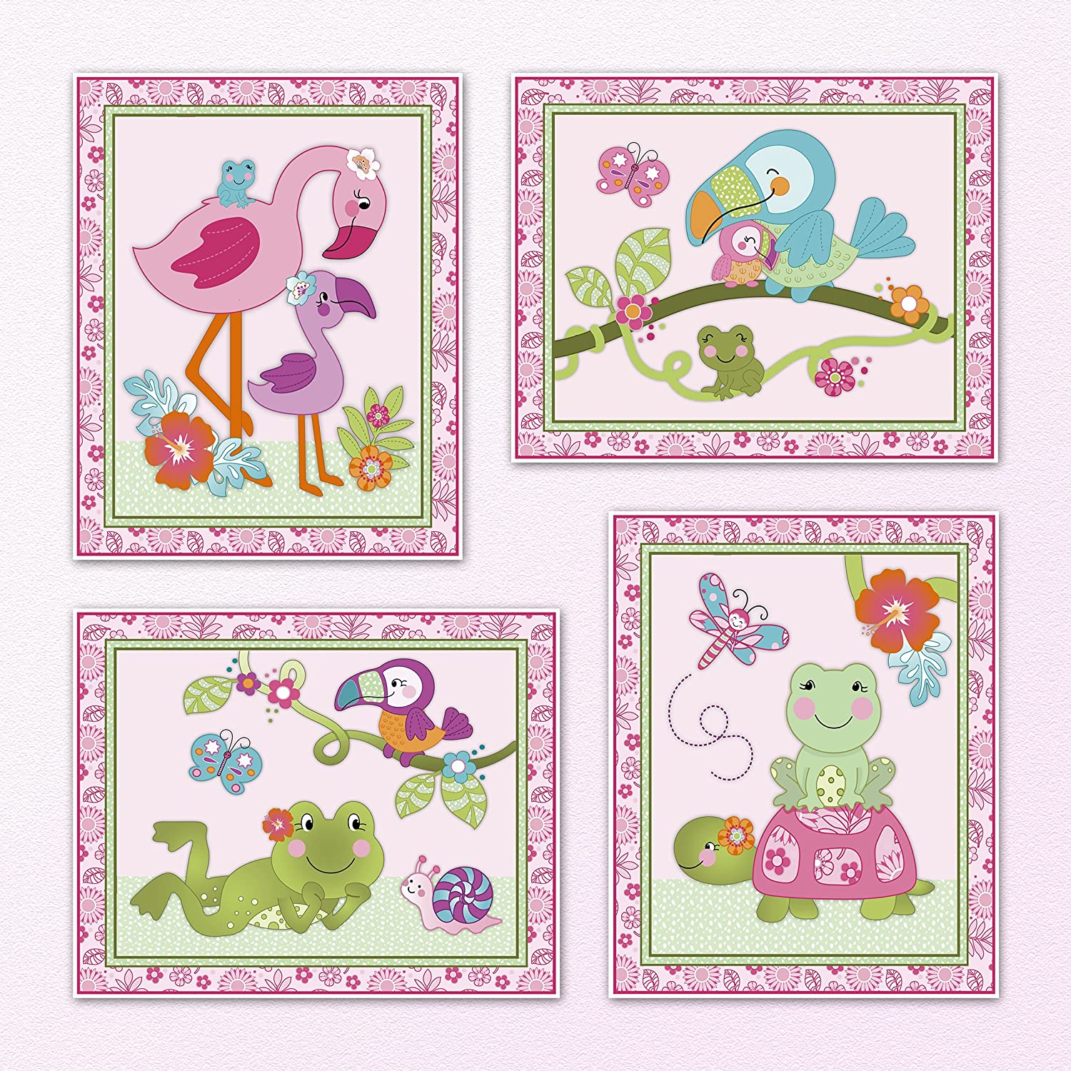 Amazoncom Tropical Flamingo Garden Baby Girl Nursery Art Prints