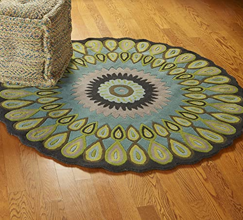 LR Resources Trade-Am Vibrance Miami Round Rug, 5-Feet, Round, Blue