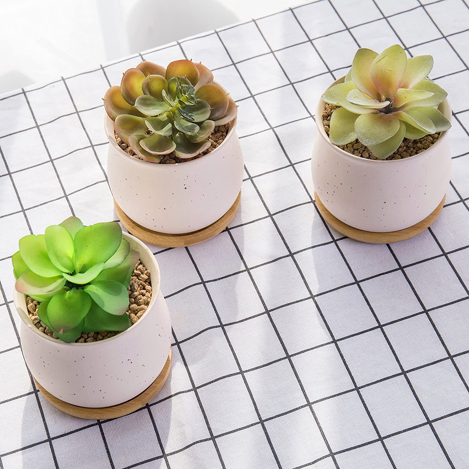 Amazon.com: 3 Inch Mini Speckled Cream Ceramic Succulent Plant Pots ...