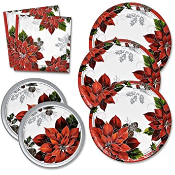 Christmas Plates and Napkins Set serves 50 includes 50 Paper Dinner Plates 50 Dessert Plates and  sc 1 st  Amazon.com & Amazon.com: Christmas Plates and Napkins Set serves 50 includes 50 ...