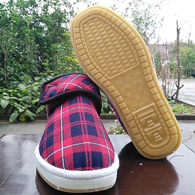 Accueil Chaussons en coton chaussures chaudes hommes et femmes sac à main avec les personnes âgées, plus d'hiver en velours anti-glissement du tendon de boeuf bas maman chaussures Coton chiffon ,40( est tr